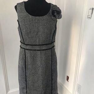 Adorable tweed Merona dress with fabric flower pin